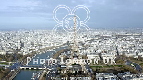 Paris Aerial Panoramic Cityscape View Feat. Eiffel Tower In France