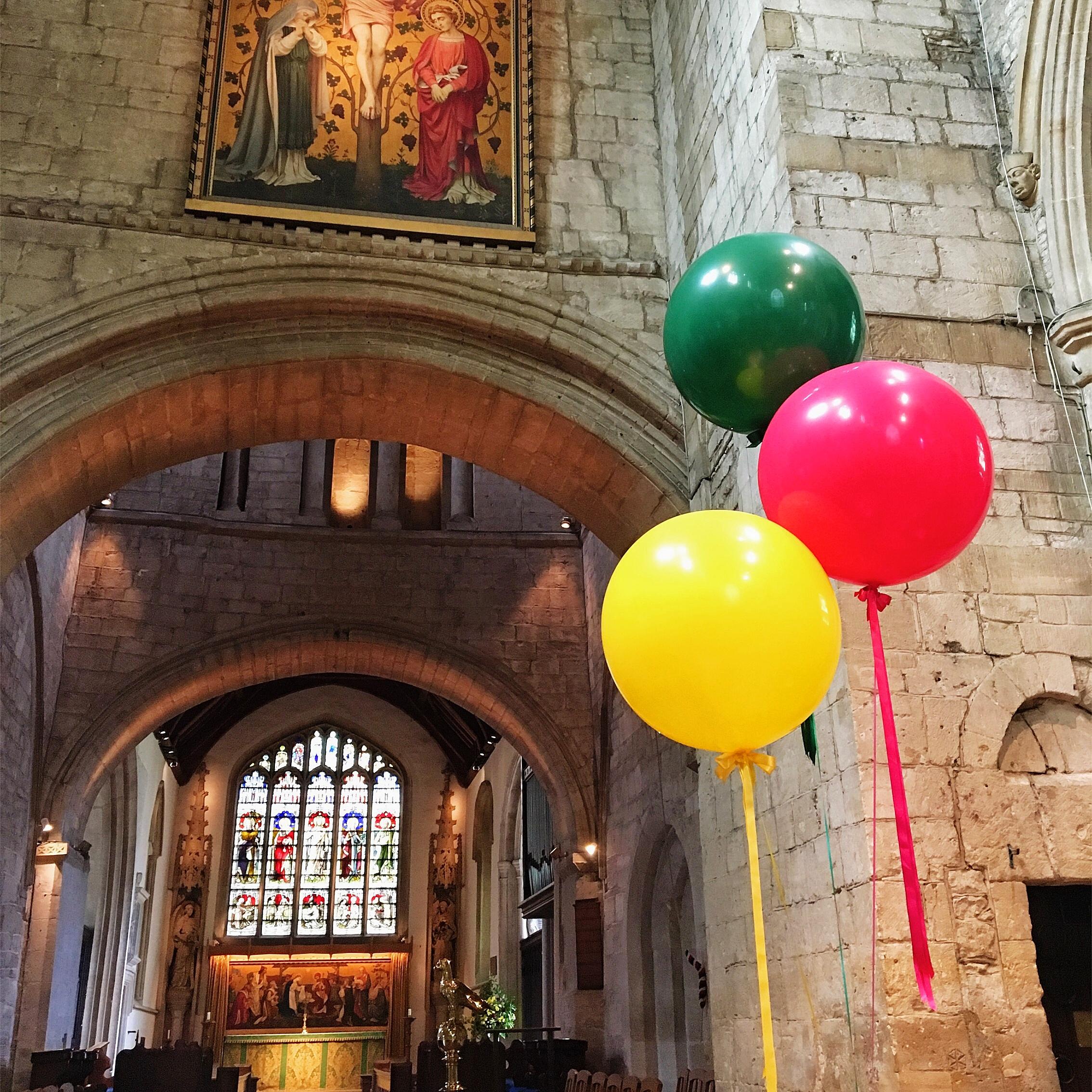 Giant Wedding Balloons in Church