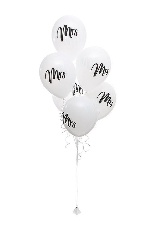 "Mrs 11"" Wedding Balloons"