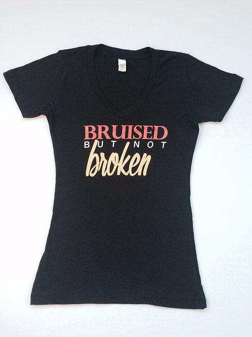 Black Bruised but Not Broken V-Neck Tee