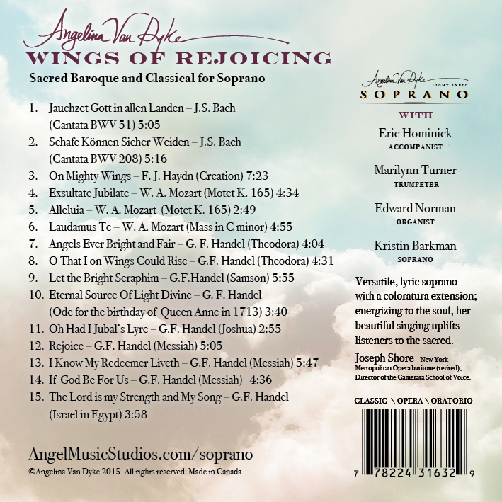 Wings of Rejoicing CD Album Back