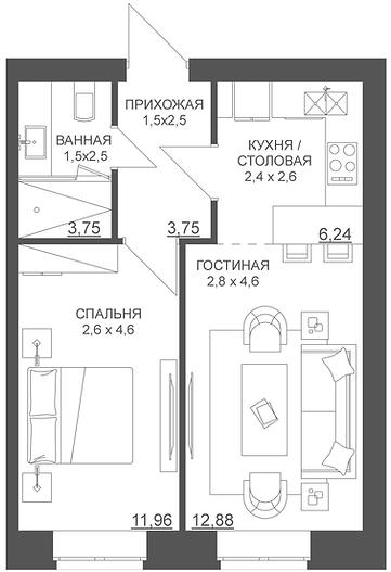 Двухкомнатная и трехкомнатная квартира Пермь, свободная планировка, квартира студия, евродвушка