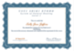 Level 1 Reiki Certificate - Sally Jeffri