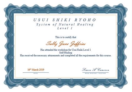 Level 1 Reiki Certificate - Sally Jeffri