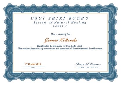 Level 1 Reiki Certificate - Joanna Koltu