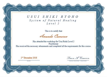 Practitioner Reiki Certificate - Amanda