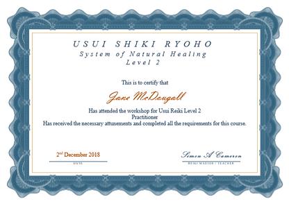 Practitioner Reiki Certificate - Jane Mc