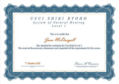 Level 1 Reiki Certificate - Jane McDouga