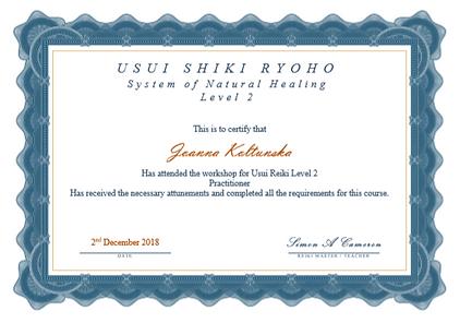 Practitioner Reiki Certificate - Joanna