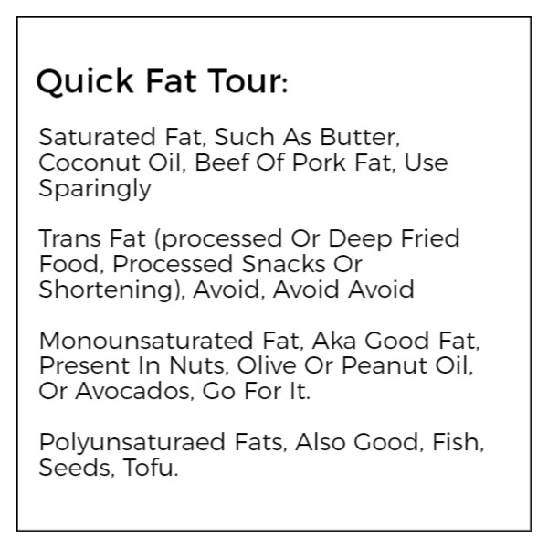 `inform about healthy and non healthy fats