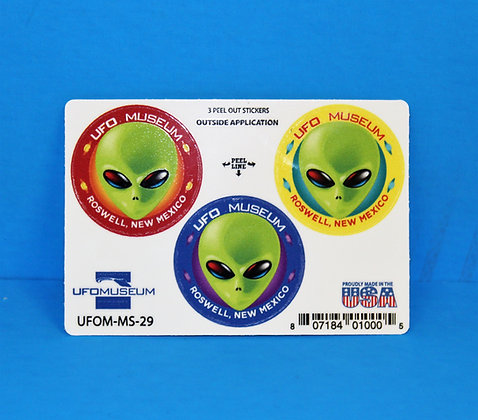 UFO Museum 3-Up 3D SMALL Stickers