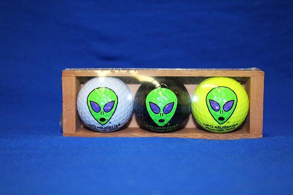 3 Golf Balls in Wooden Box
