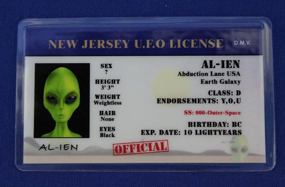 New Jersey U.F.O. License
