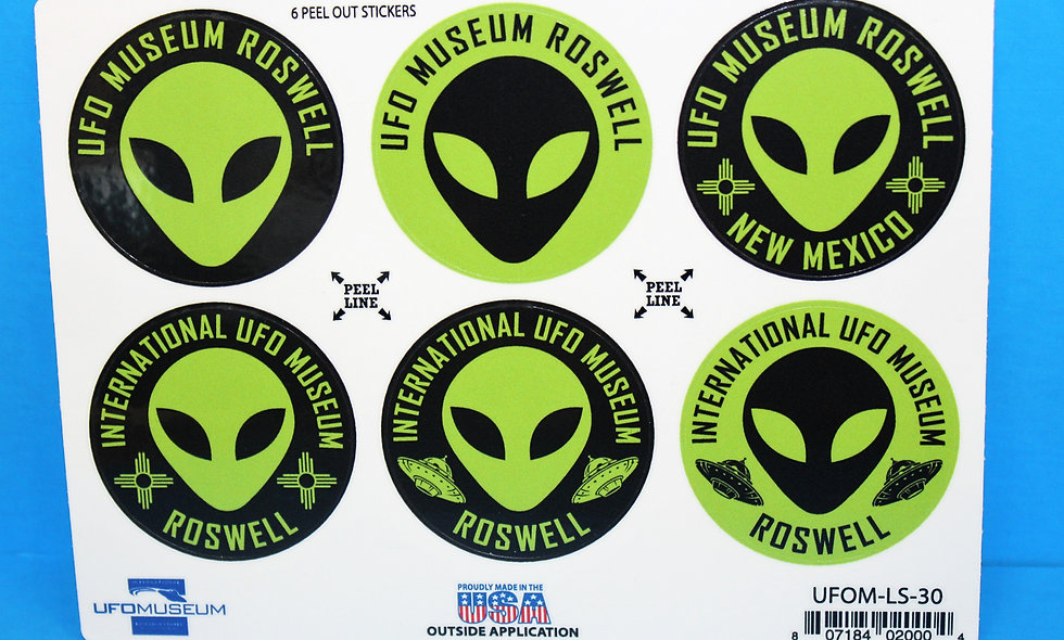 UFO Museum 6-Up MEDIUM Stickers