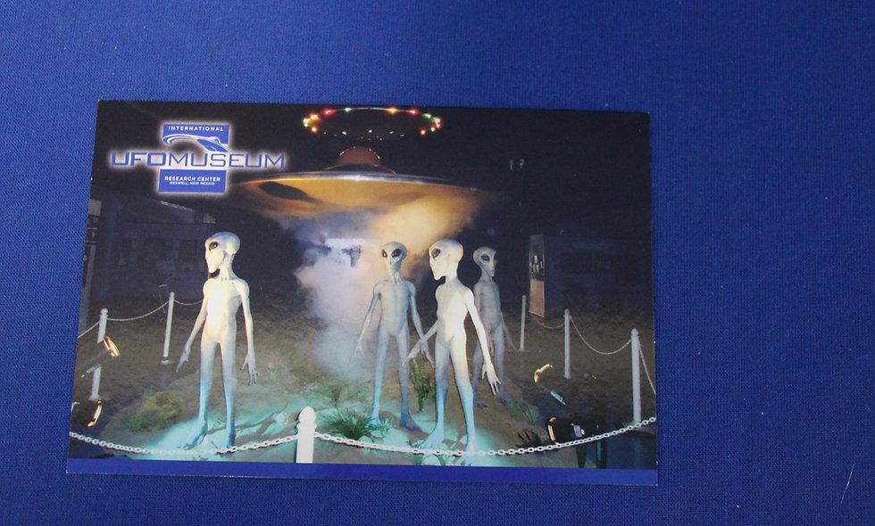 4 Alien Men Exhibit Postcard