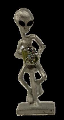 Alien Barstool Pewter Statue