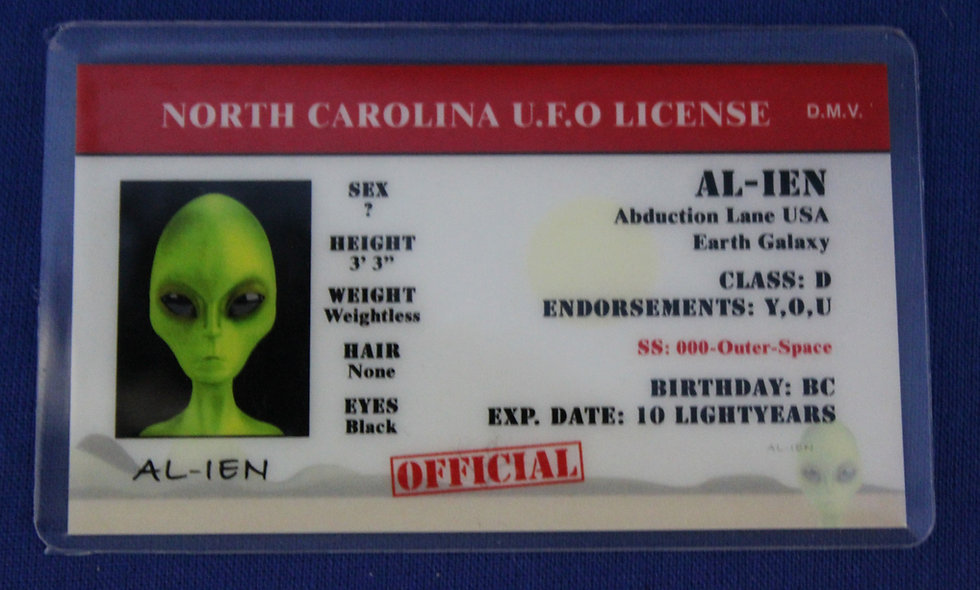 North Carolina U.F.O. License