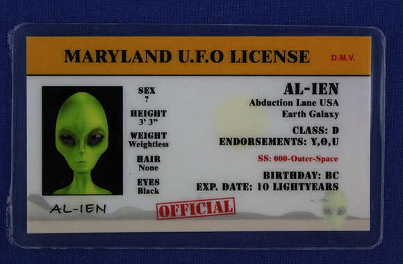 Maryland U.F.O. License