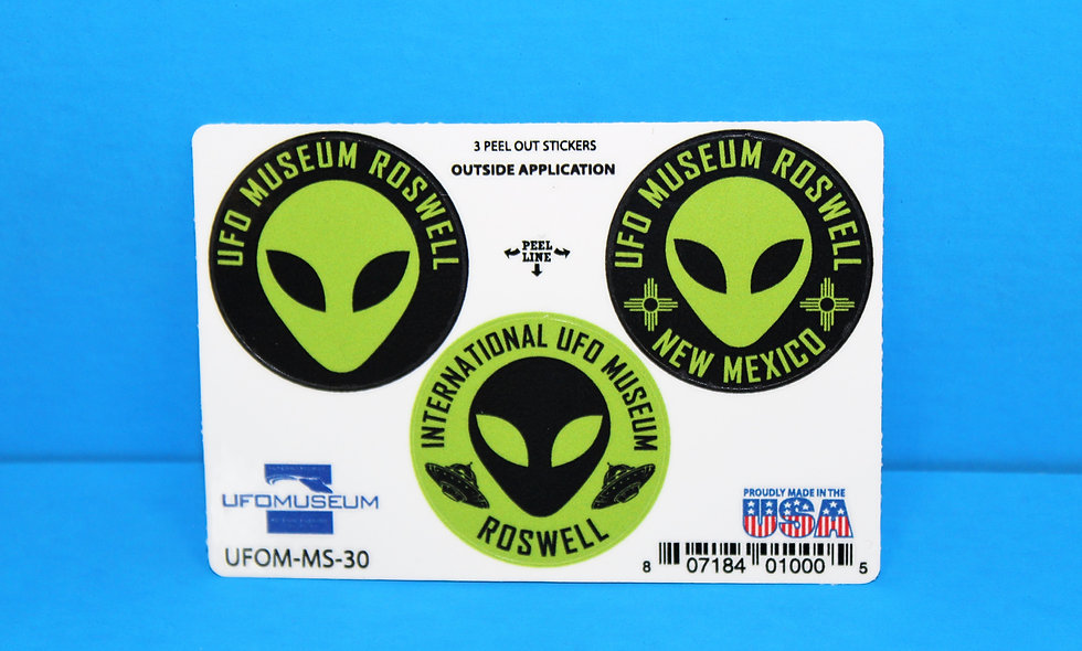 UFO Museum 3-Up Green SMALL Stickers