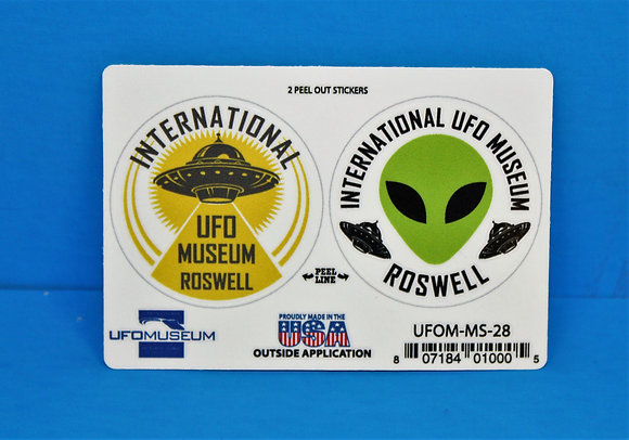 UFO Museum 2-Up Green/Yellow SMALL Stickers