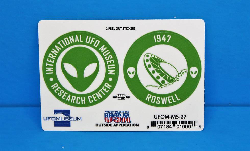 UFO Museum 2-Up Green SMALL Stickers
