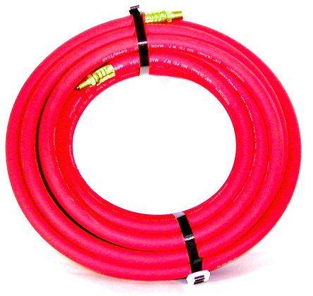 "1/4"" x 100' Red Air Hose MXM w/ Bend Restrictors"