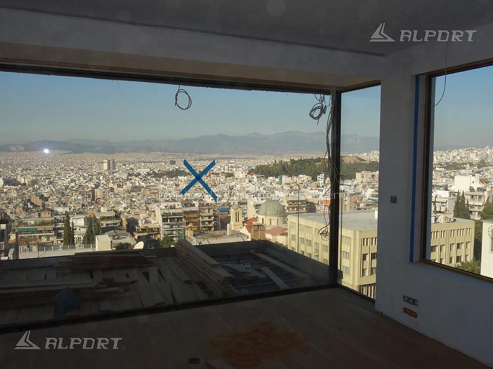 κατασκευή μεγάλου  ανοίγματος  13,50m με minimal κούφωμα αλουμινίου χωρίς πλαίσιο!