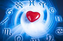 a red heart over blue zodiac background.