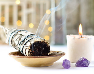 sage candle with amethyst and twinkle li