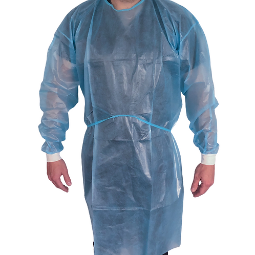 Disposable isolation gown front view