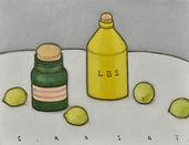 笠井誠一《 黄色いボトルとレモンのある卓上静物