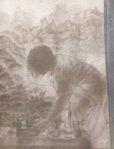 赤木範陸《人物蠟山水図》 亜麻布にエンカウスティーク・岩絵の具 H41×W32cm