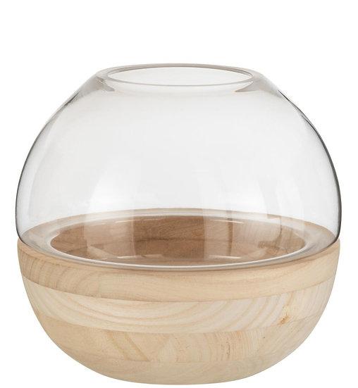 Vaas rond hout/glas lichtbruin