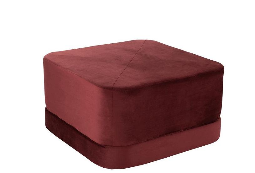 Poef vierkant laag velvet rood