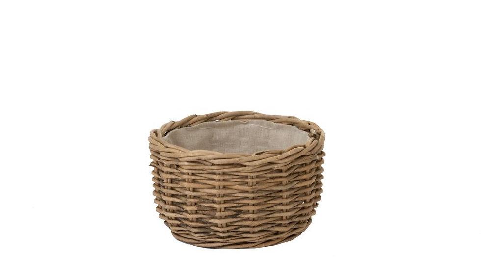 Broodmandje rond klein wilg/linnen naturel