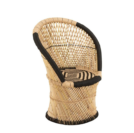 Stoel rugsteun bamboe natural/zwart kind