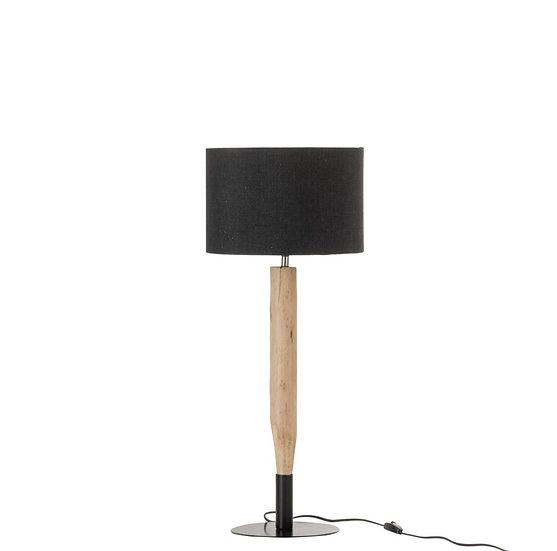 Tafellamp tak bruut eucalyptus hout/ijzer naturel/zwart