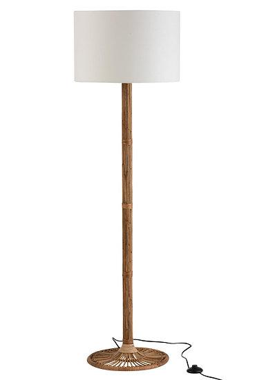 Vloerlamp + lampenkap naia rotan naturel/wit