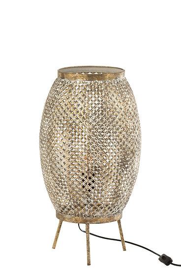 Staanlamp gaatjes bloem metaal goud