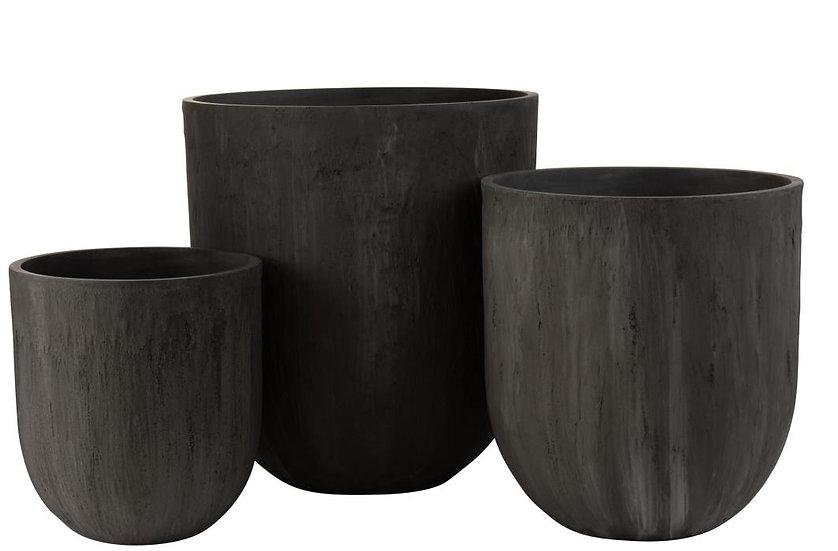 Set van 3 vazen rond keramiek hoog zwart