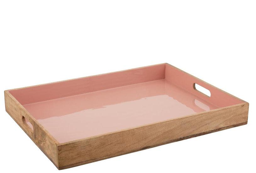 Plateau mango hout roze email