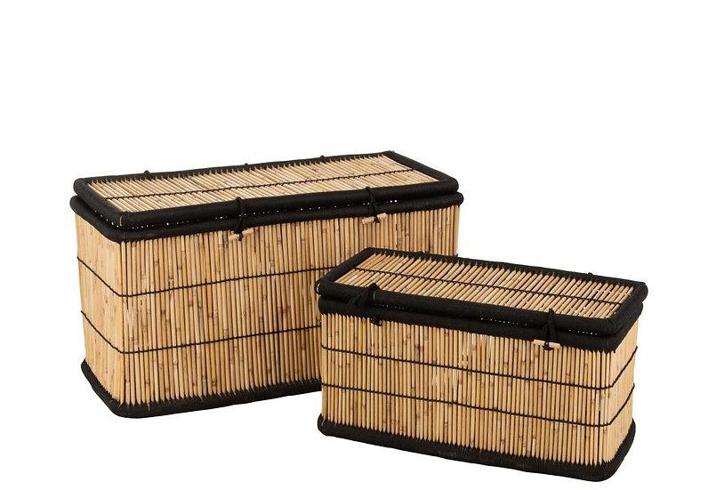 Set van 2 manden rechthoekig bamboe natural/zwart