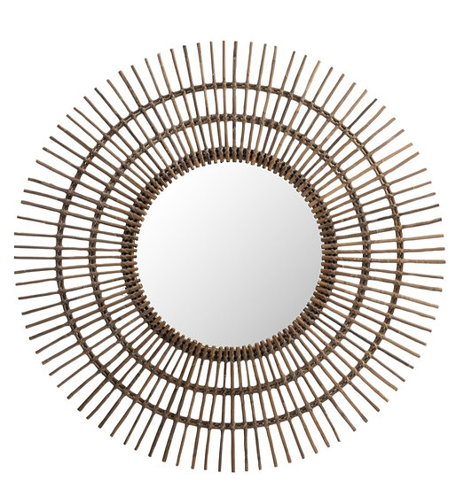 Spiegel rond etni rattan bruin large