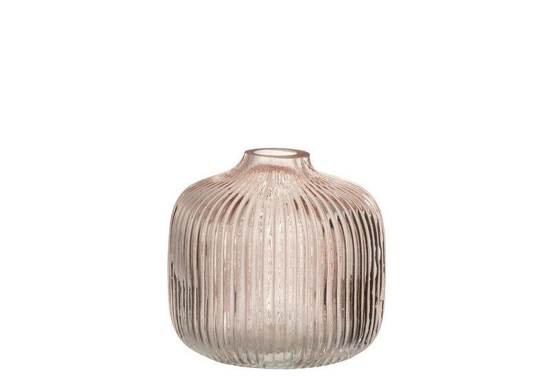 Vaas ribbels laag glas roze