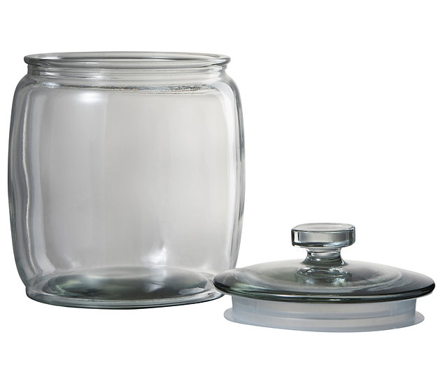 Voorraadpot breed rond glas transparant small