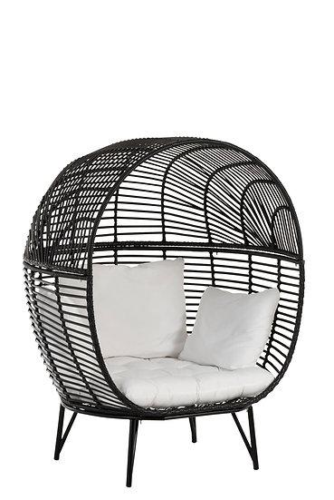 Loungestoel ovaal staal zwart