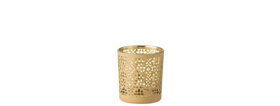 Theelichthouder abstract patroon glas goud/geel