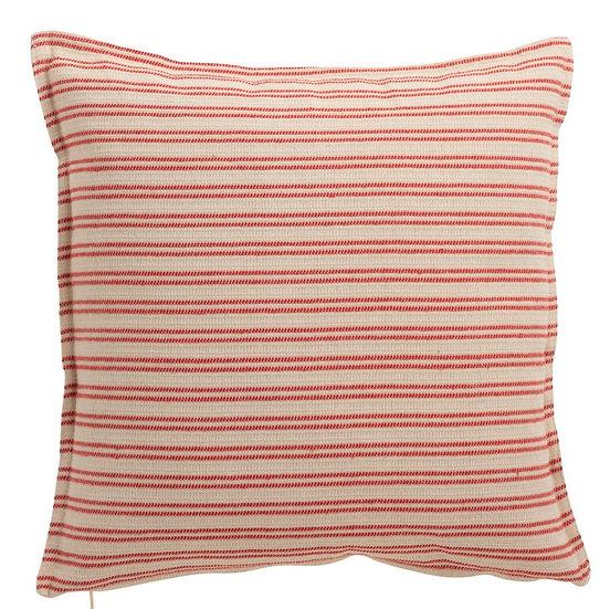 Kussen lijn polyester wit/rood