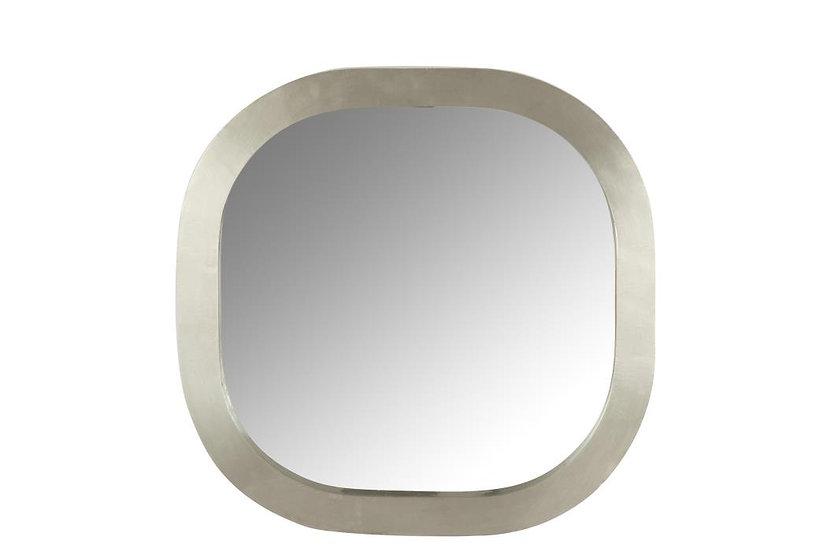Spiegel vierkant afgerond hout zilver