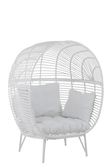 Loungestoel ovaal staal wit